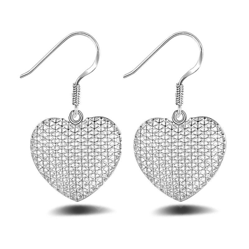 Korean Style Silver Plated Heart Shape Hollow Out Drop Earrings Charm Jewelry
