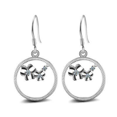 Fashion Design Vintage Zircon Round Silver Plated Circle Drop Earring Charm Jewelry