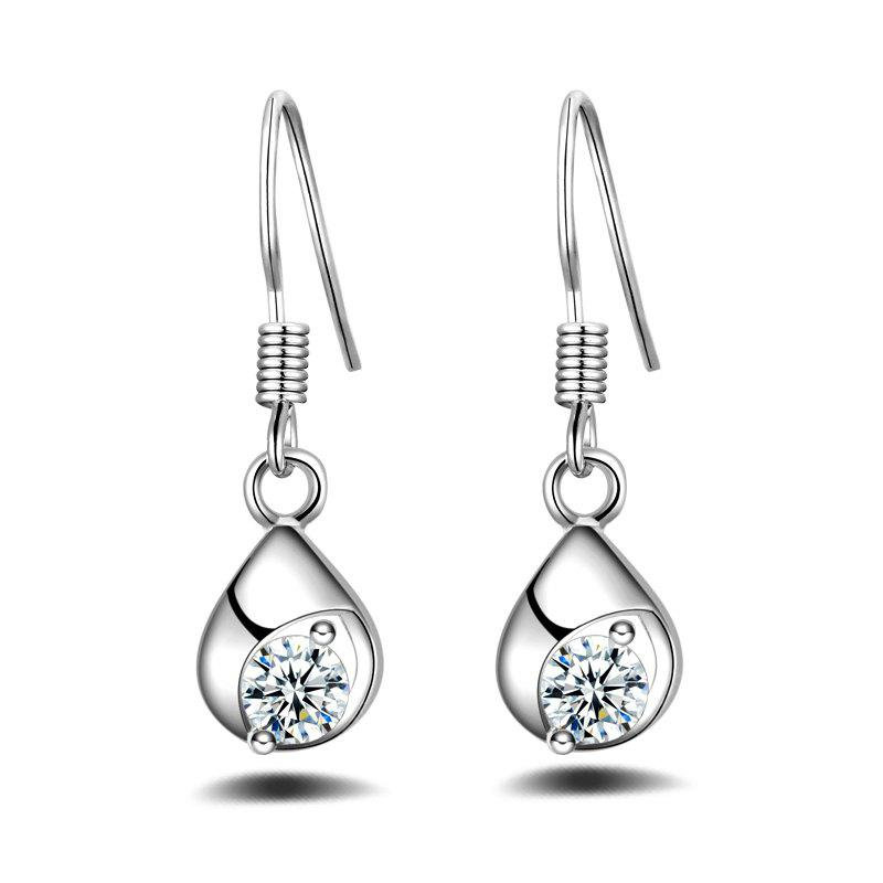 Fashion Simple Design Silver Plated Anti Allergy Drop Earrings Charm Jewelry