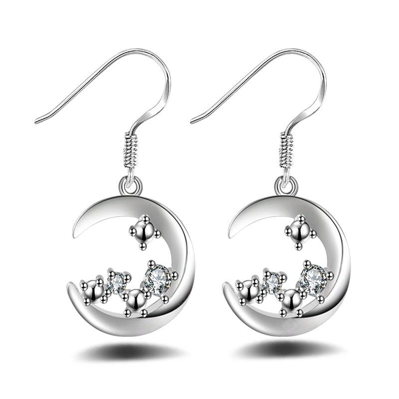 Fashion Design Silver Plated Moon Shape Drop Earrings Charm Graceful Jewelry