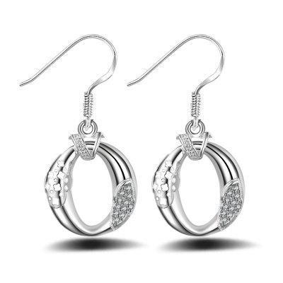Fashion Design Luxury Zircon Silver Plated Drop Earrings Hollow Out Charm Jewelry