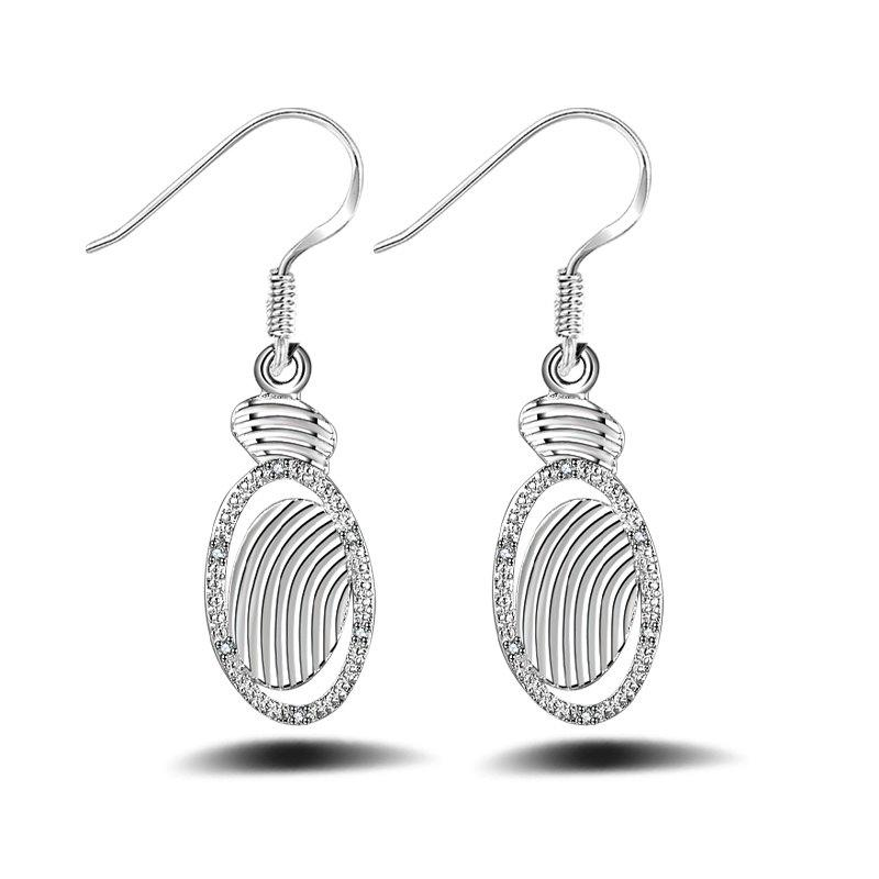 Fashion Design Silver Plated Zircon Drop Earrings Charm Graceful Hollow Out Jewelry