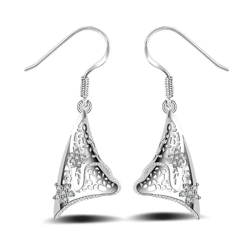 Fashion Design Hollow Out Silver Plated Drop Earrings Ear Charm Graceful Jewelry