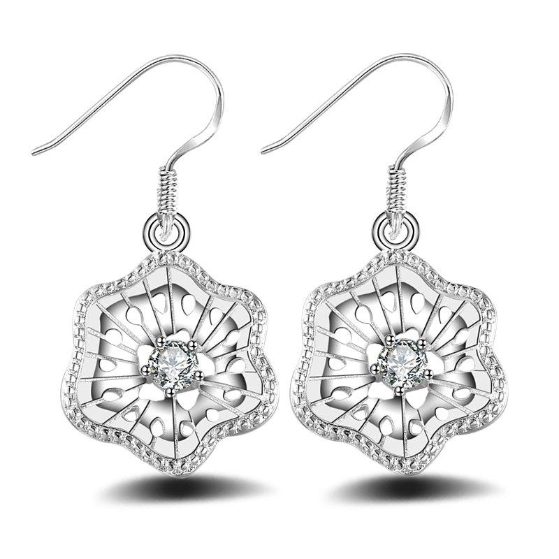 Fashion Design Silver Plated Lucky Star Drop Earrings Anti Allergy Flowers Jewelry