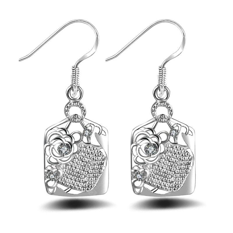 Fashion Design Crown Roses Shape Silver Plated Drop Earrings  Charm Jewelry