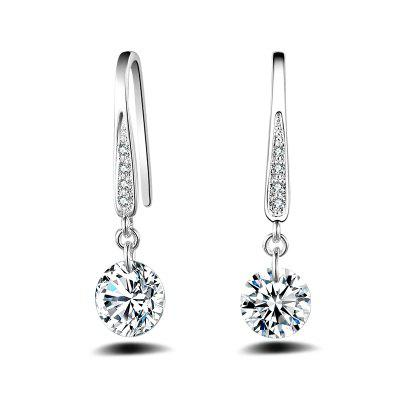 Fashion Design Zircon Silver Plated Graceful Drop Earrings Charm Jewelry