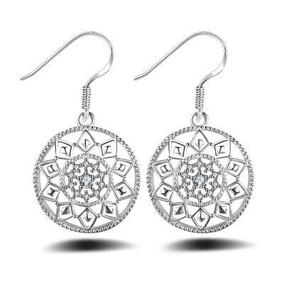 Fashion Design Zircon Silver Plated Circle Hollow Out Drop Earring Anti Allergy Jewelry