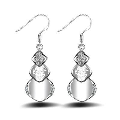 Korean Style Fashion Design Crystal Triangle Drop Earrings Anti Allergy Silver Plated Jewelry