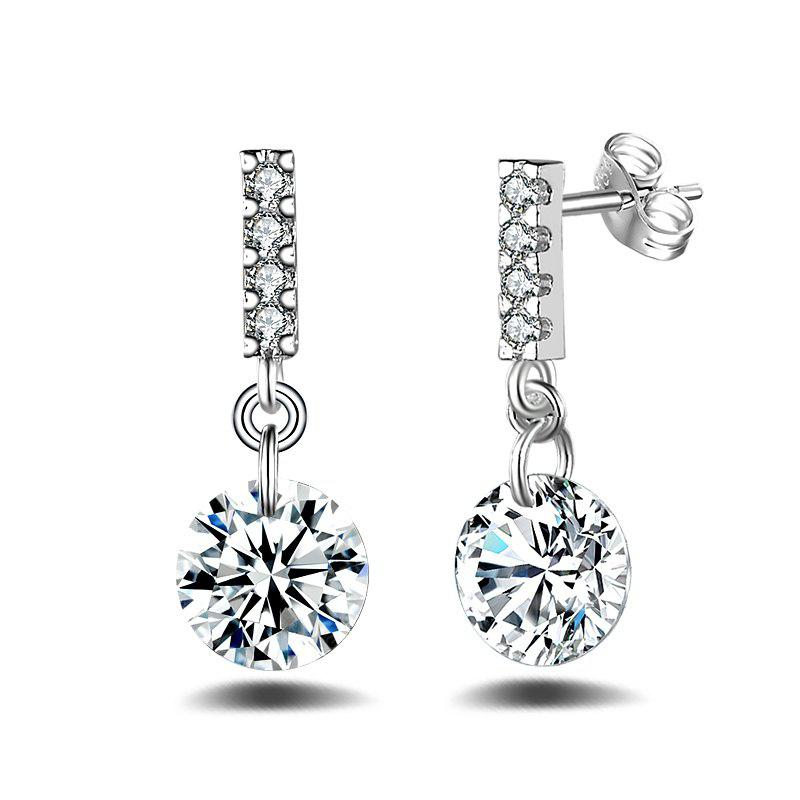Fashion Design Long Silver Plated Drop  Earrings Zircon Graceful Jewelry