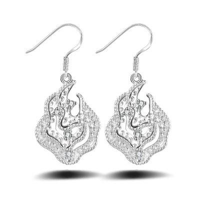 Hollow Out  Drop Earrings Silver Plated Charm Jewelry