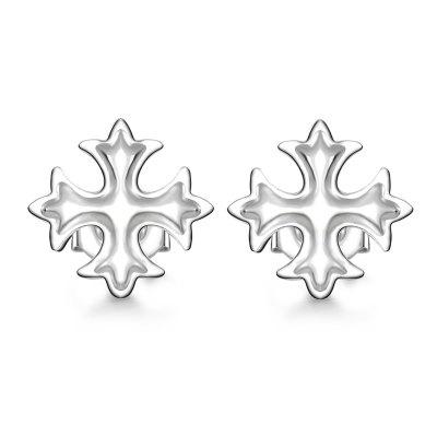 Korean Style Fashion Cross Silver Plated Stud Earrings Christmas Charm  Jewelry