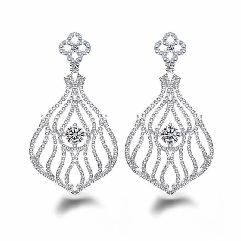 Fashion Design Zircon Silver Plated Hollow Out Drop Earrings Charm Jewelry