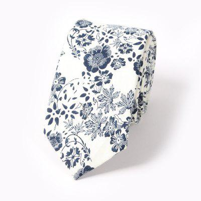 Men'S Fashion Floral Printed Cotton Necktie