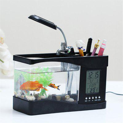 Usb Mini Fish Tank Desktop Electronic Aquarium Mini Fish Tank with Water Running LED Pump Light Calendar Clock White Bla