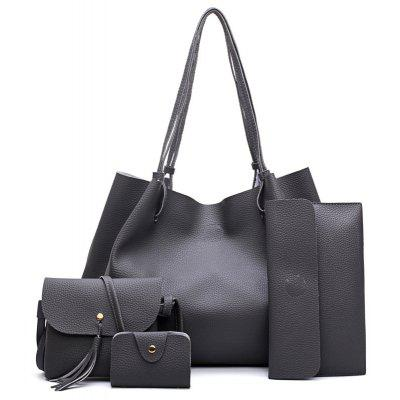 FashionLitchi grain Lady'S Mother Bag Four Pieces of Single Shoulder Cross-Bag