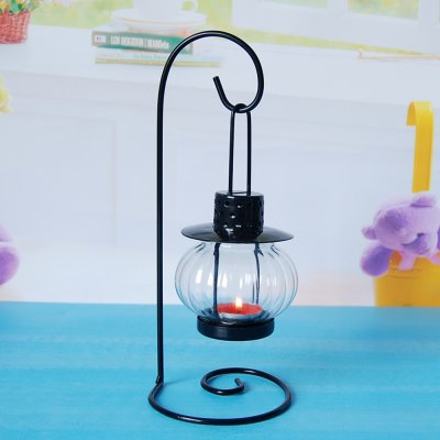 Flower Horse Time European-Style Iron Glass Lantern Candlestick Lamp Creative Simple Candle Light Dinner Home Decoration
