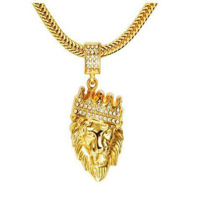 Hip Hop 2017 moda uomo ghiacciato King Crown Lion pendente W / 6mm 29.5