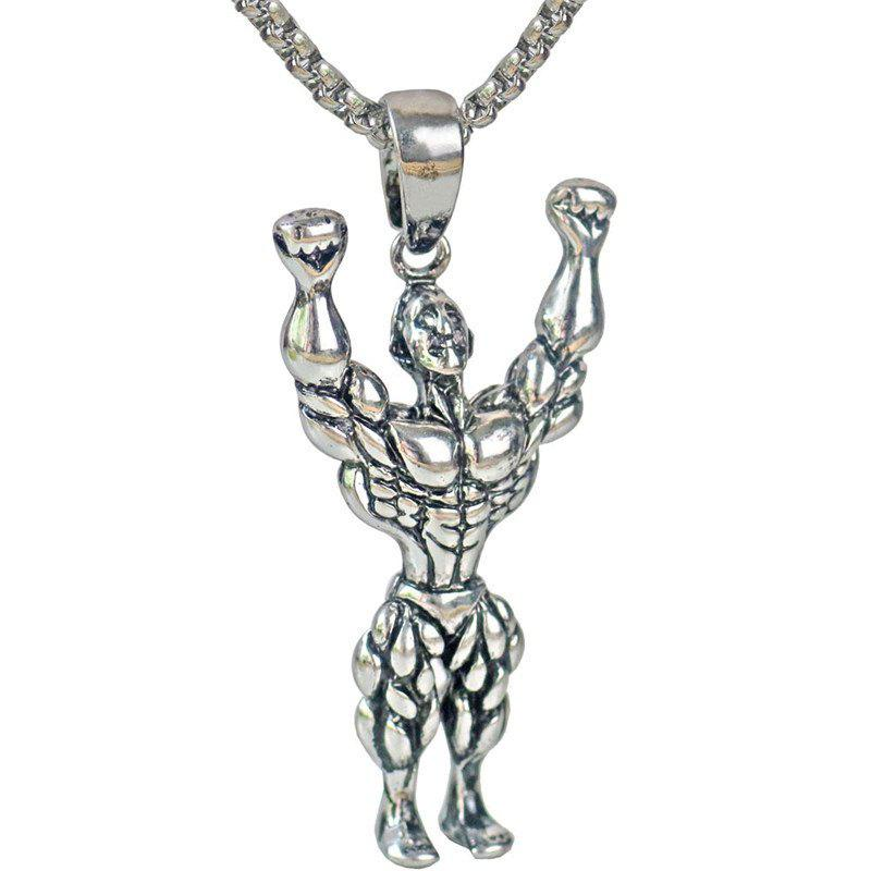 Men's Individuality Muscular Man Weightlifting Pendant Long Section Sweater Chain Necklace Fashion Jewelry Gifts