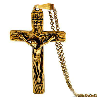 Christian jesus cross pendant necklace chain mens jewelry
