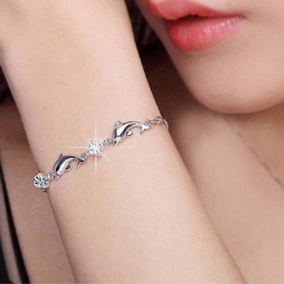 New Women Ladies Girls Fashion 925 Sterling Silver Dolphin Crystal Diamond Bracelet Chain Bangle Jewelry
