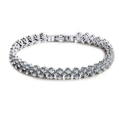Fashion Roman Style Woman 925 Sterling Silver Crystal Diamond Bracelets Gifts