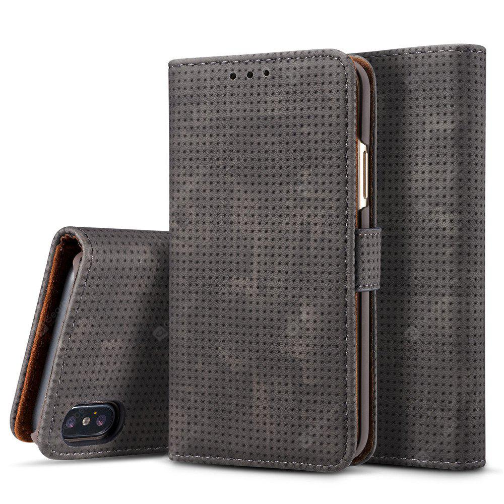 For iPhone X Retro Mesh Card Holder Holster New Phone Case