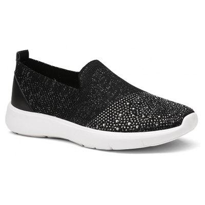 New Large-Size Breathable Mesh Weaving Flat Shoes Rhinestones Soft Bottom Shoes