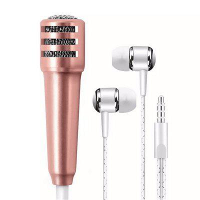 High Quality Mini Singing Microphone with Earphone for iPhone Android Smart Phone PC Laptop