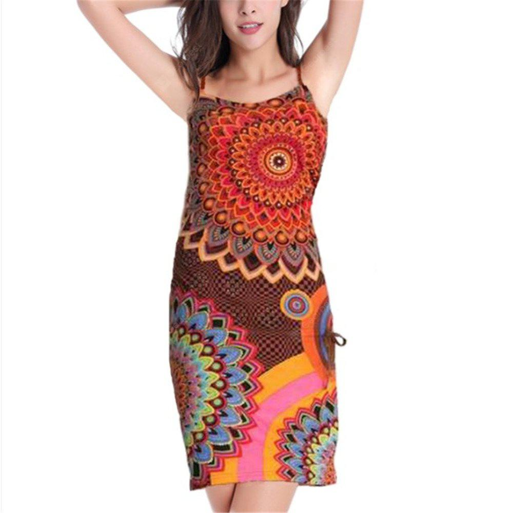 European and American Printed Sling Dress