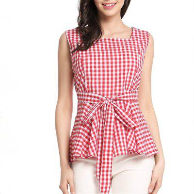 Cotton Small Fresh Lattices with Sleeveless Side vest