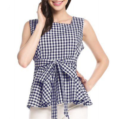 Cotton Small Fresh Lattices with Sleeveless Side chaleco