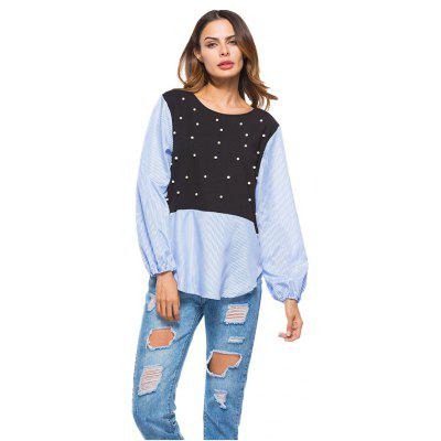 Stitching Two Pieces of Nail Bead Loose Long Sleeved Shirt