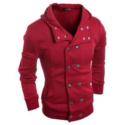 Men double-breasted fashion hooded hoodie cardigans