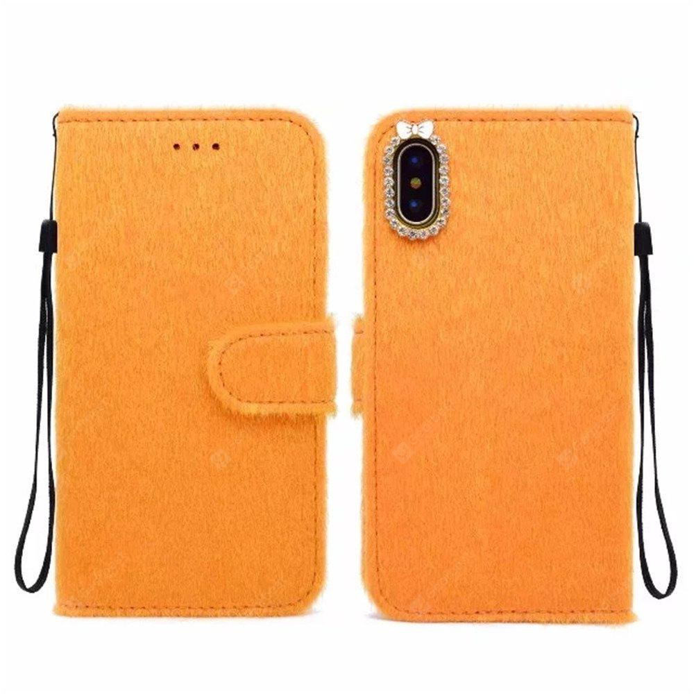 For iPhone X Case Horse hair Card Holder Wallet with Stand Flip Full Body Solid Color Hard Genuine Leather
