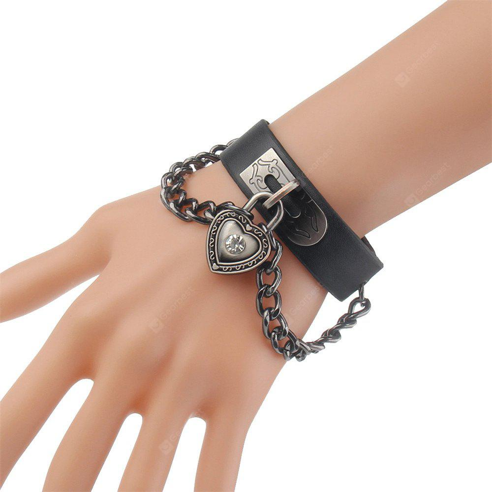 Hot New Personality Heart Chain Alloy Leather Bracelet