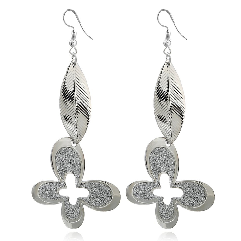 Fashion Metal Earrings Long Leaves Grind Arenaceous Butterfly Ornaments
