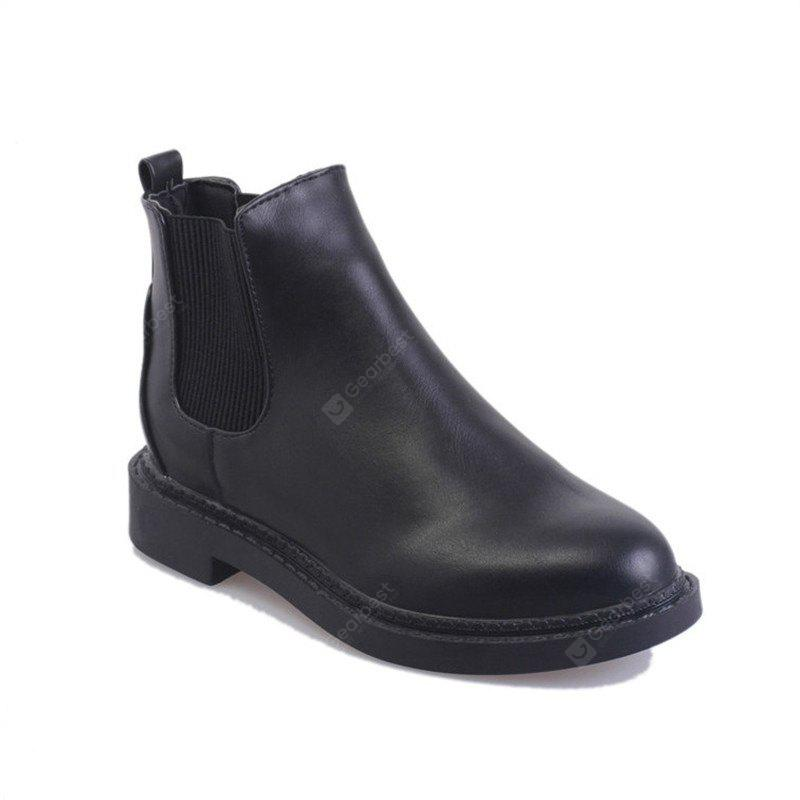 Autumn and Winter New Women 'S Boots Plus Velvet Flat Boots Black Martins Round Head Thick Flat Heel and Ankle Boots