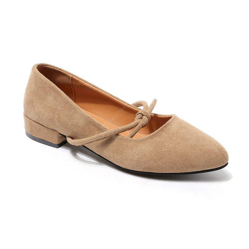 The New Shoes A Shallow Mouth Sweet Suede Low with Casual Shoes with Coarse Pedal Shoes