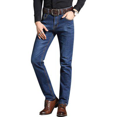 Straight Fit Stretch Denim Pants Plus Size Trousers Casual Cowboys Jeans