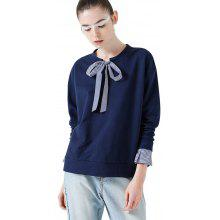Toyouth Stripe Patchwork Bowknot Vintage T-Shirts