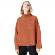 Toyouth Casual Solid Color Loose Long Sleeve Turtleneck Warmth Pullovers Sweater