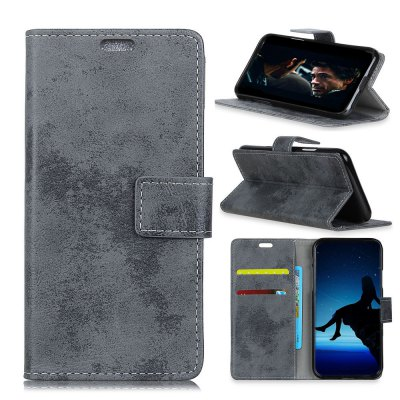 Durable Retro Style Solid Color Flip PU Leather Wallet Case for ZTE A6