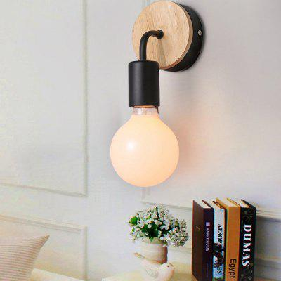Ever-Flower Wood Wall Lamp Iron Metal Wall Light Fixtures Living Bedroom Home Lighting Vintage Wall Sconces