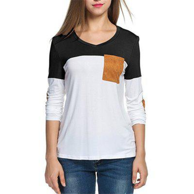 New Long Sleeved European and American Color Splicing T-shirts