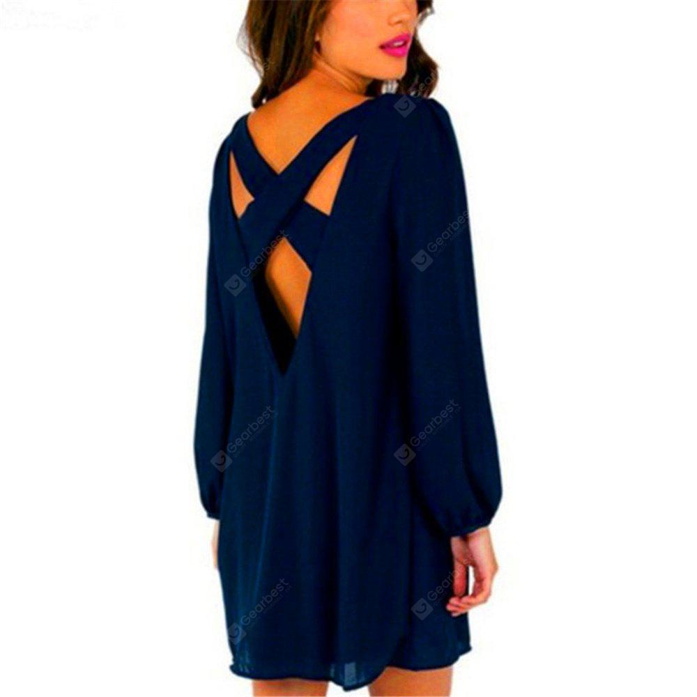 Sexy Deep V Chiffon Long Sleeved Dress