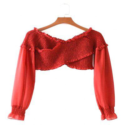 New Women's Wavy Edge Fold Uncovered Shoulder Sexiness Crop Top