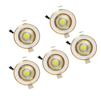 5W COB LED Ceiling Light COB Ceiling Light White gold inlay 5-Pack