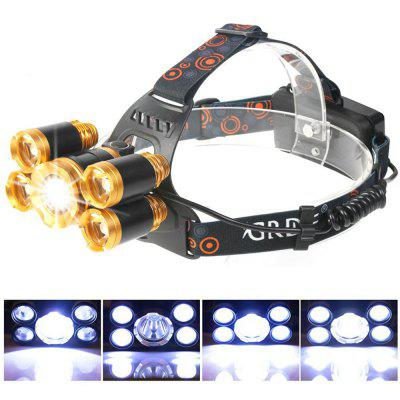 HKV 5 LEDs Headlamp Zoomable Camping Fishing HeadLight Rechargable Telescopic Focusing LED Head Lighting