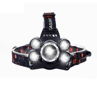 HKV 5 LED Headlamp XML T6+4Q5 Head Lamp Powerful Led Headlight Head Torch 18650 Rechargeable Fishing Hunting Light
