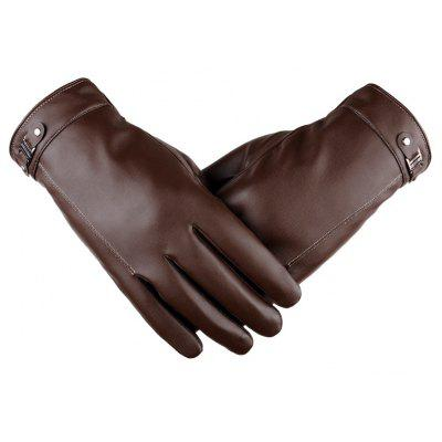 Touch Screen Men's Winter Leather Gloves Warm Cashmere and Thick Fashion Outdoor Cotton